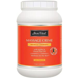 Bon Vital - Muscle Therapy Massage Creme with Jojoba and Dwarf Pine Oil 128 oz. - 1 Gallon - 3.78 Liters