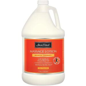 Bon Vital - Muscle Therapy Massage Lotion with Jojoba and Dwarf Pine Oil 128 oz. - 1 Gallon - 3.78 Liters