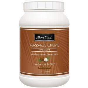 Bon Vital - Coconut Massage Creme with Fractionated Coconut Oil 128 oz. - 1 Gallon - 3.78 Liters