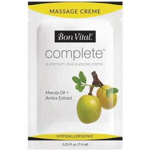 Bon Vital - Complete Massage Creme - a Premium Dual Purpose Creme with Marula Oil + Arnica Extract 0.25 oz. - 7.4 mL. Trial Size