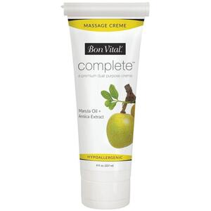 Bon Vital - Complete Massage Creme - a Premium Dual Purpose Creme with Marula Oil + Arnica Extract 8 oz. - 237 mL. Tube
