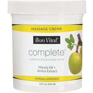 Bon Vital - Complete Massage Creme - a Premium Dual Purpose Creme with Marula Oil + Arnica Extract 14 oz. - 424 mL. Jar