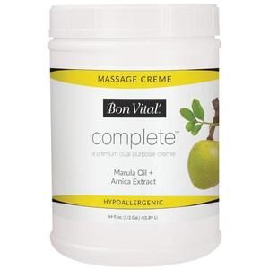 Bon Vital - Complete Massage Creme - a Premium Dual Purpose Creme with Marula Oil + Arnica Extract 64 oz. - 12 Gallon - 1.89 Liters