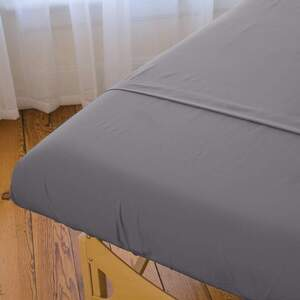"Sposh Microfiber Sheet - Fitted - Slate Grey 32.5""W x 73""L x 6.5""D Pocket - Fits a Standard Table 30""W x 73""L"