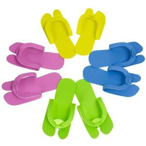 Disposable Fold Up Slip Resistant Slippers Assorted Colors Green Blue Yellow and Pink 12 pair