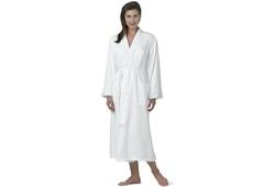 Microfiber Robe Cottonpoly Knit Lining White