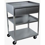 Stainless Steel Rolling Cart- 3 Shelf With Drawer