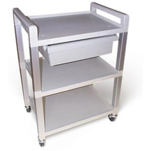 Smooth Rolling Lightweight Poly Cart / 3 Shelves + Drawer (675 0030)