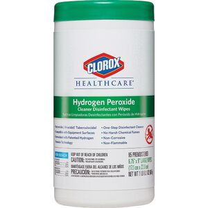 "Clorox Healthcare® Hydrogen Peroxide Cleaner Disinfectants - 6.75"" x 9"" Multipurpose Wipes 155 Count (025 1005 04)"
