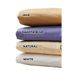 NRG Cotton-Poly Sheet Sets - White Natural Java or Dakota Blue 1 Fitted Sheet + 1 Flat Sheet + 1 Crescent Cover 175 Thread Count (229 0228)