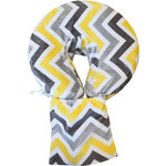 Spa Pocket - Face Cradle Slip Cover - Patterned Microplush Chevron Yellow-Silver-White (229 1073 20)