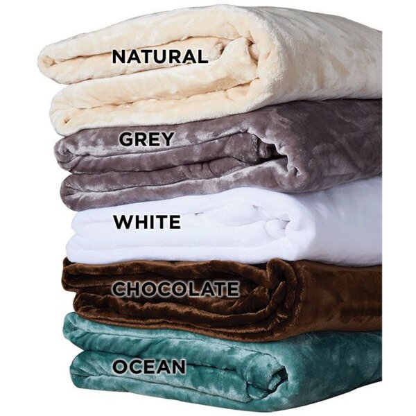 "NRG Premium Microplush Blankets - White Natural Dark Chocolate Ocean or Grey 60"" x 90"" (055 0017)"