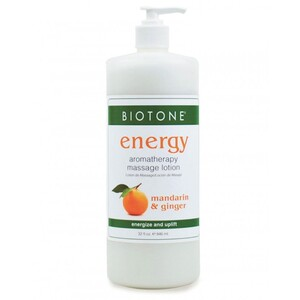 Energy Aromatherapy Massage Lotion - Mandarin Ginger Lemongrass Clove Cinnamon and Sweet Orange 32 oz. (226 0300 03 05 )