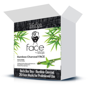 FACE by ToGoSpa™ Collagen Gel Face Masks - Back Bar Box - Bamboo Charcoal 20 Face Masks in a Box (280 0337 01)