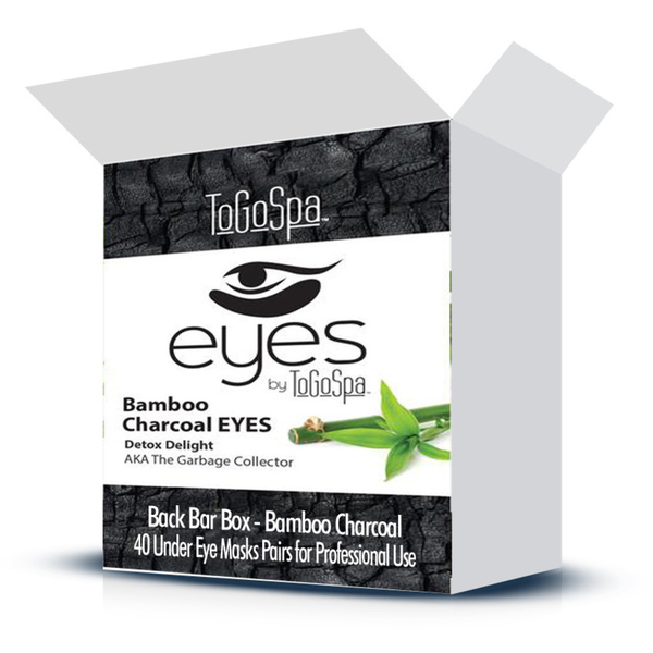 EYES by ToGoSpa™ Under Eye Collagen Gel Masks - Back Bar Box - Bamboo Charcoal 40 Eye Mask Pairs in a Box (280 0331 01)