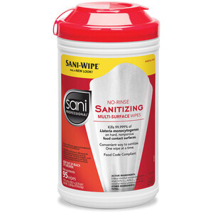 "Sani Professional® No-Rinse Sanitizing Multi-Surface Wipes - 7.75"" x 9"" 95 Count (025 0083)"