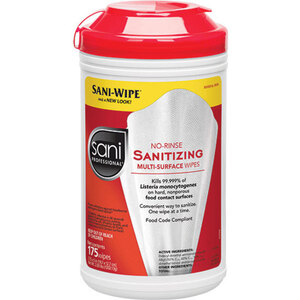 "Sani Professional® No-Rinse Sanitizing Multi-Surface Wipes - 7.75"" x 5"" 175 Count (025 0084)"