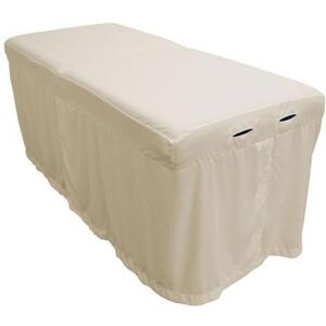 "Body Linen Tranquility™ Microfiber Massage Table Skirts - 32.25""W x 73""L x 24""H. 120 GSM - Stain Resistant Color: Natural (229 0354 02)"