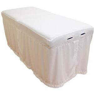 "Body Linen Tranquility™ Microfiber Massage Table Skirts - 32.25""W x 73""L x 24""H. 120 GSM - Stain Resistant Color: White (229 0354 03)"