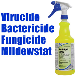 Sani-Spritz Spray - Ready to Use Lemon Scent Surface Disinfectant Deodorizer Virucide + Bactericide + Fungicide + Mildewstat 32 oz. with Trigger Sprayer (025 5084)