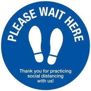 "Social Distancing 12"" Wait Here Decal Hard Floor Version (781 0029 01)"
