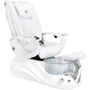 Crane Pedicure Chair White Edition with Floral-Shaped Crystal Glass Pedicure Basin ()