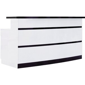 "Lux Black and White Striped Reception Desk 60"" Wide (SCBWS)"