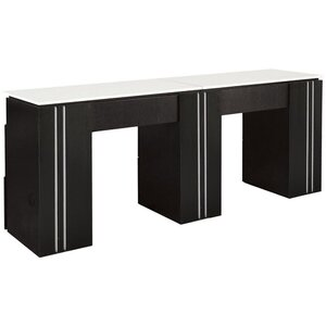 Tempo NM906D Double Manicure Table with White Quartz Top Available in Black White or Gray (NM906D)