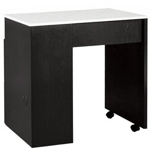 Tempo NM904 Single Compact Manicure Table with White Quartz Top Available in Black or Gray (NM904)
