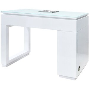Valentino Lux Single Manicure Table with Tempered Glass Top Available in Black or White (NM5750V)