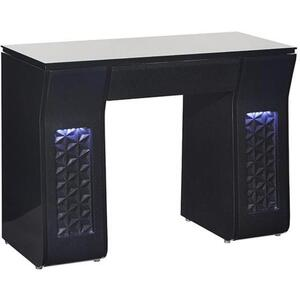 Vicki Single Nail Table with Tempered Glass Top Available in Black or White ()