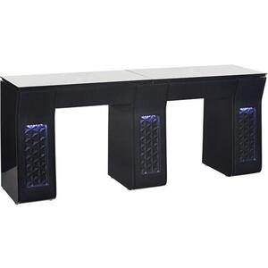 Vicki Double Nail Table with Tempered Glass Top Available in Black or White ()