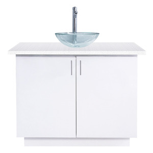 Single Sink with Cabinet White Quartz Countertop ()
