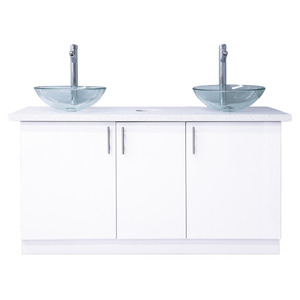 Double Sink with Cabinet White Quartz Countertop ()