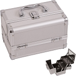 Silver 2-Tiers Extendable Trays Cosmetic Makeup Train Case With Mirror (M1001PPSL)