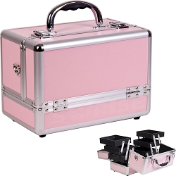 3-Tiers Expandable Trays Pink Makeup Case (C0001PPPK)