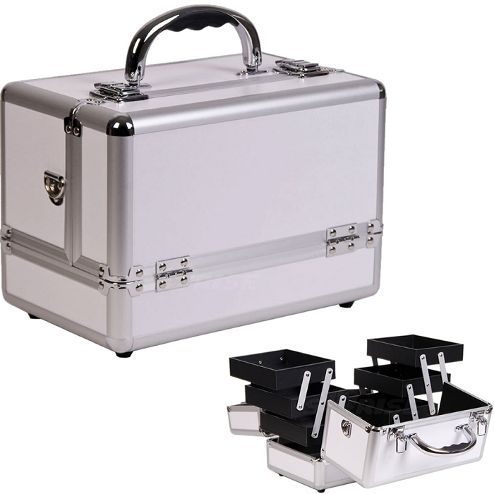 fd3d64e5e5c 3-Tiers Expandable Trays White Makeup Case (C0001PPWH)