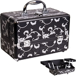 2-Tiers Expandable Trays Black Floral Design Makeup Beauty Case (C0005PVBK)