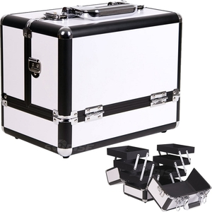 White 3-Tiers Accordion Trays Makeup Cosmetic Case (C3002PPWH)