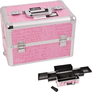 Pink Interchangeable Easy Slide Tray Crocodile Textured Printing Professional Aluminum Cosmetic Makeup Case With Dividers (E3301CRPK)