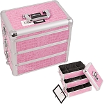 Pink Interchangeable Stackable Tray Crocodile Textured Printing Professional Aluminum Cosmetic Makeup Case With Dividers (E3303CRPK)