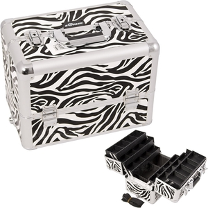 White Interchangeable 6-Tiers Extendable Tray Zebra Textured Printing Professional Aluminum Cosmetic Makeup Case With Dividers (E3304ZBWH)