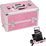 Pink Interchangeable 3-Tiers Extendable Tray Crocodile Textured Printing Professional Aluminum Cosmetic Makeup Case With Mirror (E3305CRPK)