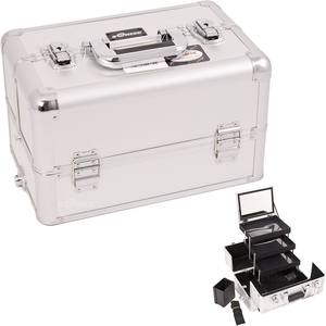 Silver Interchangeable 3-Tiers Extendable Tray Dot Pattern Professional Aluminum Cosmetic Makeup Case With Mirror (E3305DTSL)