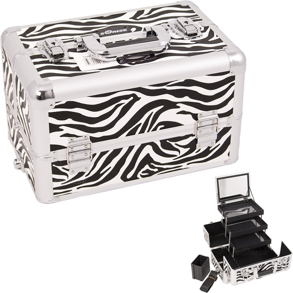 White Interchangeable 3-Tiers Extendable Tray Zebra Textured Printing Professional Aluminum Cosmetic Makeup Case With Mirror (E3305ZBWH)