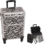 White Interchangeable 4-Wheels Zebra Textured Printing Professional Rolling Aluminum Cosmetic Makeup Case With Removable Tray And Dividers (E6301ZBWH)
