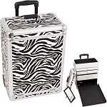 White Interchangeable Zebra Textured Printing Professional Rolling Aluminum Cosmetic Makeup Case With Large Drawers (E6303ZBWH)