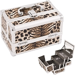 Brown Leopard Textured Printing 2-Tiers Extendable Trays Cosmetic Makeup Train Case With Mirror (M1001LPBR)