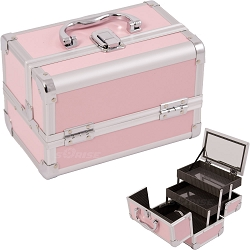 Pink 2-Tiers Extendable Trays Cosmetic Makeup Train Case With Mirror (M1001PPPK)