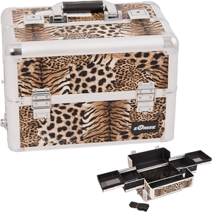 Brown Interchangeable Easy Slide Tray Leopard Textured Printing Professional Aluminum Cosmetic Makeup Case With Dividers (E3301LPBR)